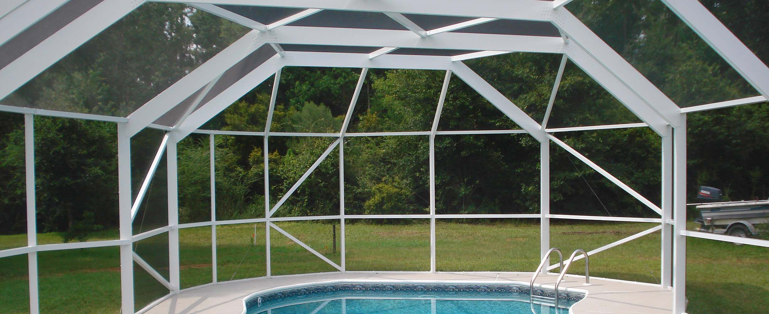 Pool enclosure specifically designed to fit th epool and top stand the Southern weather