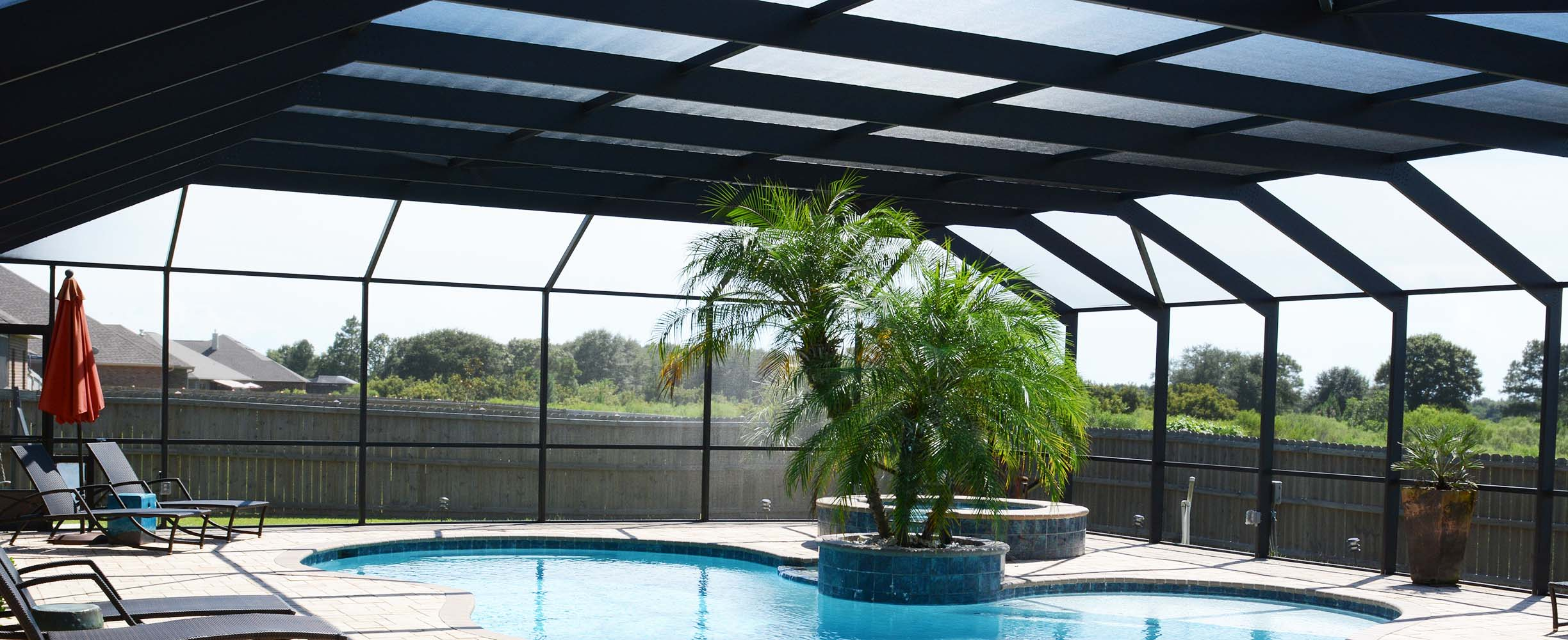 Custom designed swimming pool enclosure in Foley, Alabama