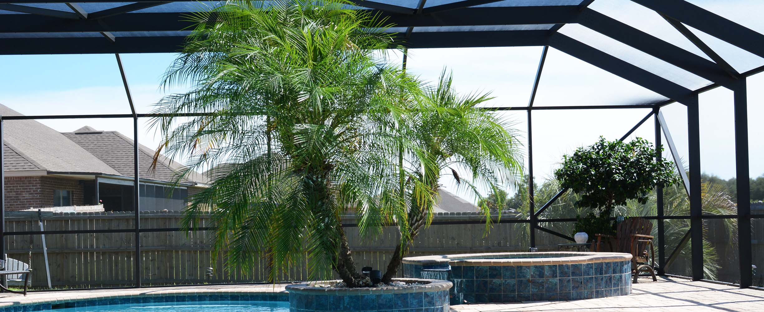 Beautiful cost-effective custom designed and built swimming pool enclosure in Foley, Baldwin County, Alabama